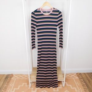 Free People Striped Long Sleeve Maxi Dress